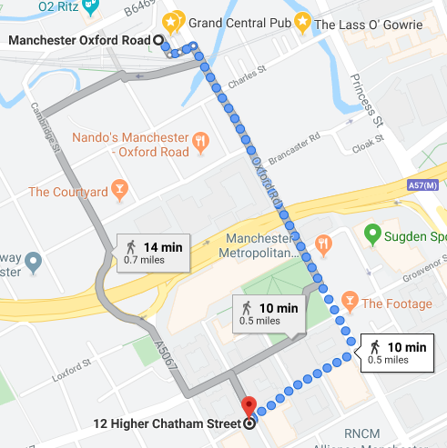 Map of Salutation from Oxford Rd Station